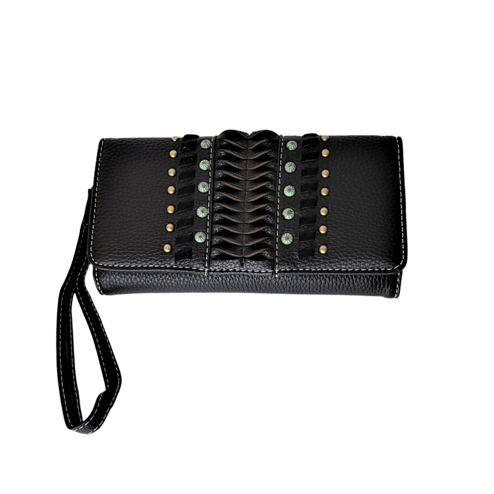 Montana West Studded Wallet for Women Western Country Tri-fold Wallet Wristlet