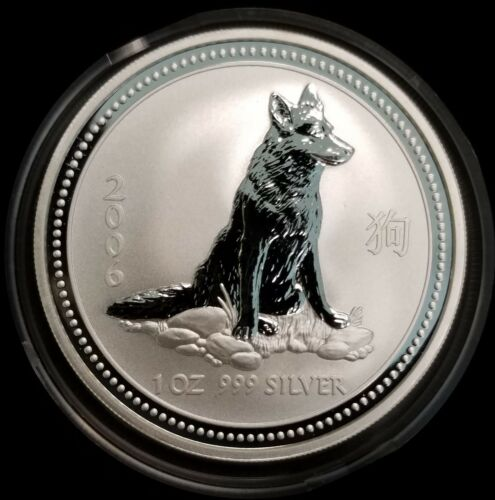 2006 Australia 1 oz Year of the Dog Lunar Series I Silver Coin BU in Capsule