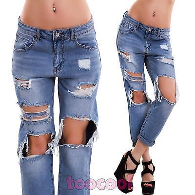 Jeans donna pantaloni strappati boyfriend cavallo basso strappati nuovi B6210