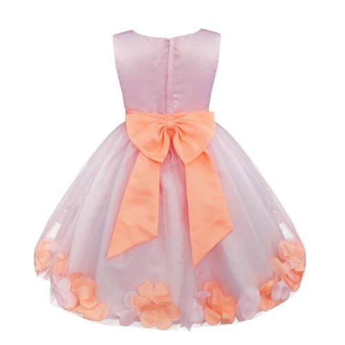 UK Petals Flower Girl Dresses Party Birthday Tutu Gown Princess Wedding Holiday