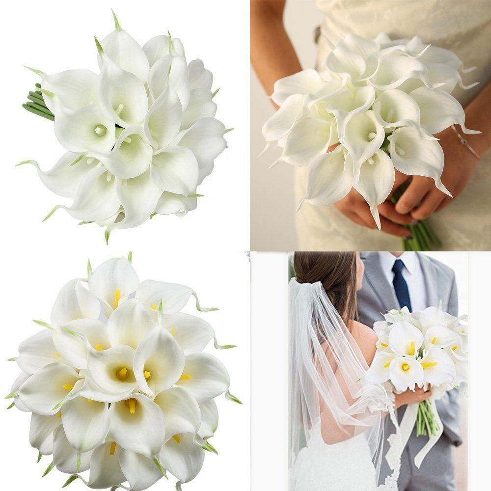 12pcs Artificial Calla Lily Wedding Bridal Bouquet Fake Flowers Diy