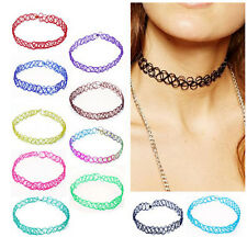 12PCS/LOT Vintage Stretch Tattoo Choker Necklace Punk Gothic Elastic Pendants