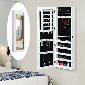 Mirrored-Jewelry-Cabinet-Wall-Mounted-Real-Glass-Mirror-Locked