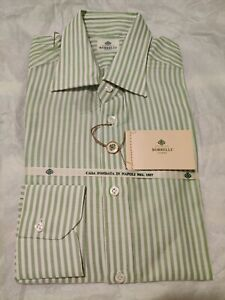 NWT-Borrelli-Napoli-Green-And-White-Striped-Dress-Shirt-15-5-39-Made-In-Italy