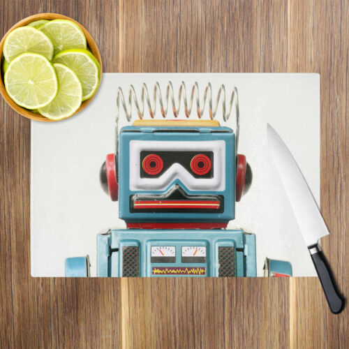 Blue Red Robot Toy Kids Glass Chopping Board Kitchen Worktop Saver Protector