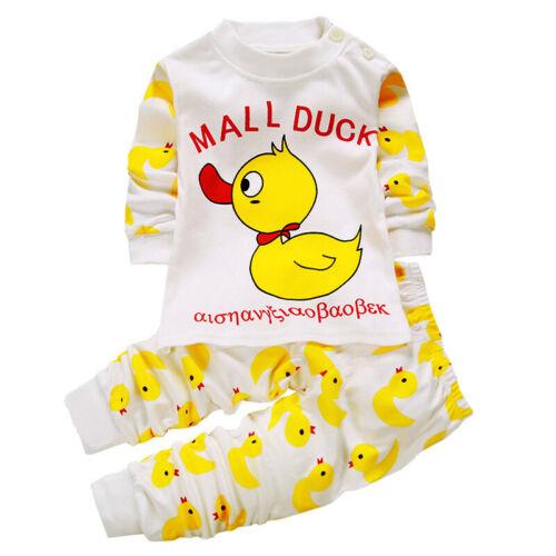 Kinder Baby Baumwolle Lang Ärmel Warm Top Elastisch Bedruckt Hose Nachtwäsche