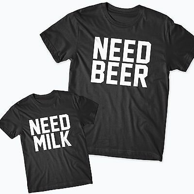Need Beer Need Milk Father Son tshirt Gift Dad matching Fathers Day Funny Pint