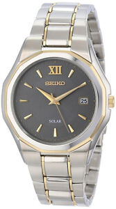 Seiko Solar SNE166P9 SNE166 Mens two-tone Watch Sunlight Powered NEW RRP $595.00