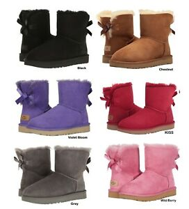 NEW-Authentic-UGG-Women-039-s-Bailey-Mini-Bow-Boots-Shoes-Black-Chestnut-Pink-Grey