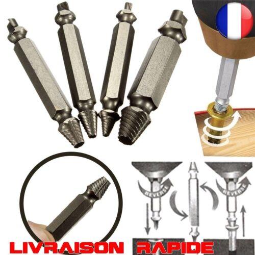 4 pcs Extracteur de vis endommagé Extractor Outils kit forage boulon drill bits