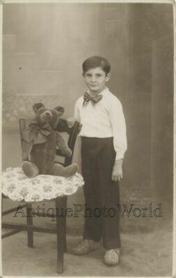 Antique Studio Photo Man Posing w// Trophy Moose Antlers .Vintage Photo Print 5x7