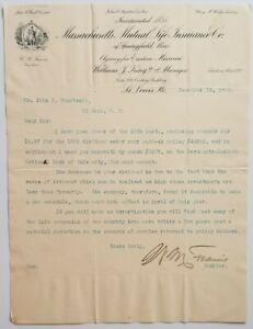 1902 Letterhead St Louis Missouri Massachusetts Mutual Life Insurance Company 2 | eBay