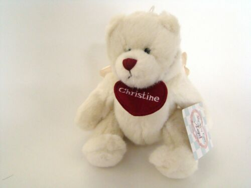 """Ganz Angel Bear 9/"""" Personalized with name Christine Red Heart Teddy Bear"""