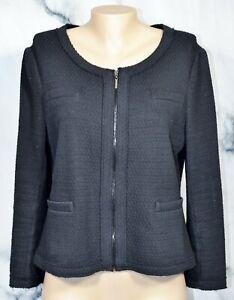 ALFANI-PETITE-Black-Textured-Zipfront-Jacket-Blazer-PL-Unlined-Cotton-Blend