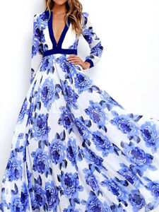 Azul-vestido-maxi-para-mujer-con-cuello-en-V-Vestido-Falda-Floral-Estampado-Largo-Completo-Nuevo