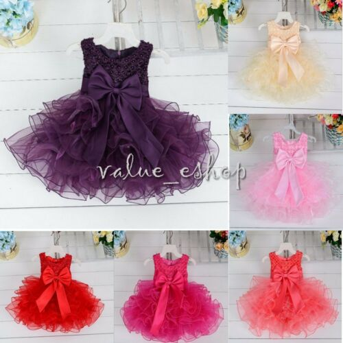 Baby Wedding Bridesmaid Party Christening Dress For Girls Kids Communion Formal