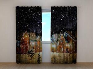 """Fotogardine """"schnee Nacht"""" Fotovorhang Vorhang Gardinen Dekor Fotodruck Curtains, Drapes & Valances Window Treatments & Hardware Auf Maß Drip-Dry"""