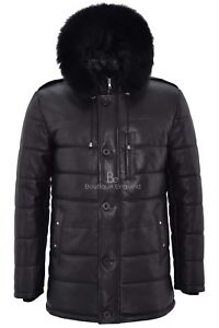 f0170f0fbb Mens Puffer Hooded Leather Jacket Black Hip Length Quilted Classic ...