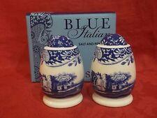 Spode Blue Italian Salt & Pepper Pots New & Boxed.