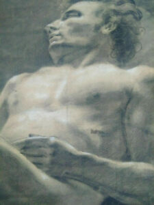 Rare-large-male-nude-drawing-xix-elongated-man-academic-study-pastel-frame