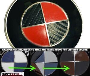 BMW FULL BLACK CARBON FIBER Emblem Sticker Overlay Complete Set Decal