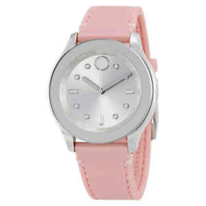 Movado Bold Silver Dial Pink Silicone Ladies Watch 3600414