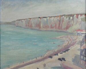 Henri-Druaux-Xxe-Plage-Etretat-Olio-Tela-1934-Normandia-le-Havre-Octeville