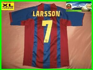 buy popular ac4d5 d4754 Details about RARE Barcelona # 7 LARSSON shirt XL JUNIOR jersey camiseta  2004 04 05 nike