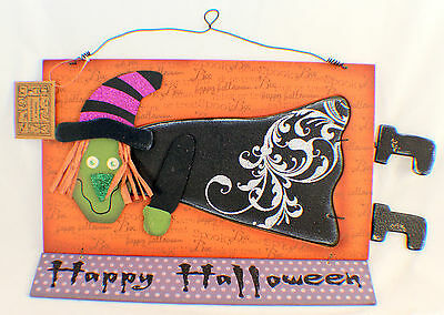 Halloween Holiday Flying Witch Wooden Spooky Glitter Wall Decor Sign
