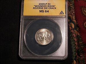 Details about 2005 P Wounded or Speared Bison Jefferson Nickel ANACS MS-64  BU!!