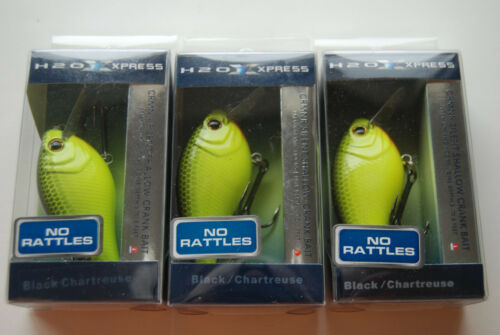 Black and Chartreuse Lot of 3 H2O XPRESS CRM-NR Silent Crankbait