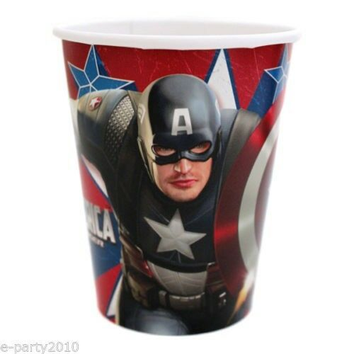 CAPTAIN AMERICA FIRST AVENGER 9oz PAPER CUPS 8 ~ Birthday Party Supplies Movie