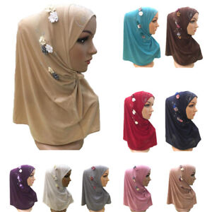 Muslim-Women-Flower-Hijab-Scarf-Islamic-Headscarf-Wrap-Amira-Arab-Shawl-Headwear