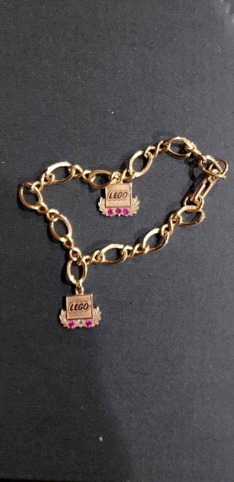 Lego années 1970 service 14K Bracelet en OR. TRÈS RARE  MAGNIFIQUE Gems Comme neuf Bracelet.