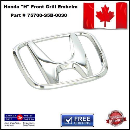 Honda Fit Chrome Plastic Grille Emblem Part Number 75700-S5B-0030
