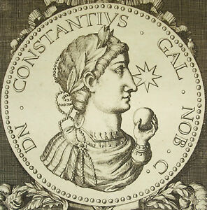 Constantius-Gallus-Demi-Frere-Of-Julien-Cesar-Empire-Rome-Engraving-18th-c1750