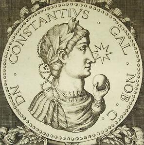 Constantius-Gallus-Demi-Frere-of-Julien-Cesar-Empire-Rome-Engraving-18th-c1750