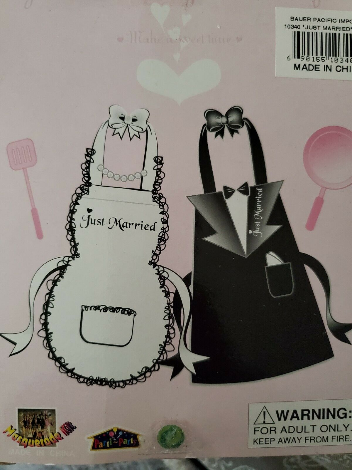 1 Just Married Apron, White Bride Gown Or Black Tuxedo, Costume Party, Newly wed