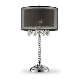 30 in. Effleurer Crystal with Black Shade Table Lamp