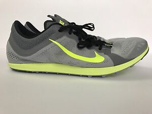 Nike Zoom XC Track Shoes Cross Country Mens 12 Spikes New Grey Black Volt 844132
