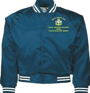NAVAL WEAPONS STATION EARLE NEW JERSEY NAVY EMBROIDERED 2-SIDED SATIN JACKET