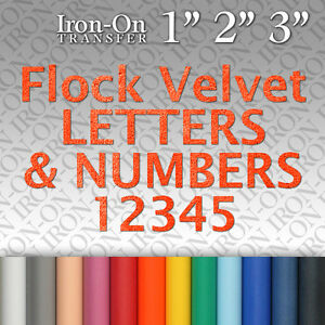 Flock Velvet Letters & Numbers Iron on Hot Fix FABRIC T SHIRT