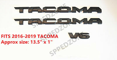 PUOU 3pcs For 2016-2018 TACOMA Tag MATTE Black Door Emblem Decal Badge Nameplate