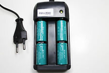 CHARGEUR RS08 + 4 BATTERIE PILE 16340 CR123 1200mAh RECHARGEABLE 3.7V ION ACCU