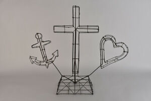 Antique-Wire-Memorial-Sculpture-Heart-Cross-Anchor-US-Navy-Folk-Art-Rare-Topiary