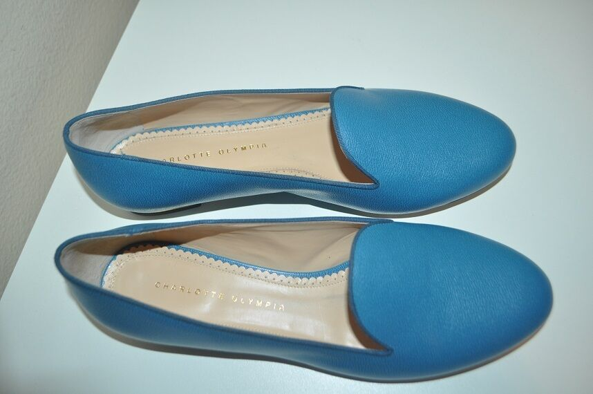 NIB  695 Charlotte Olympia Olympia Olympia ABC Flat shoes bluee Calfskin Leather Grosgrain 11   41 cc3fff