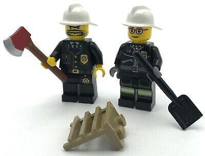 LEGO 2 NEW FIREMEN MINIFIGURES FIGURE MEN PEOPLE FIREFIGHTERS ACCESSORIES CITY