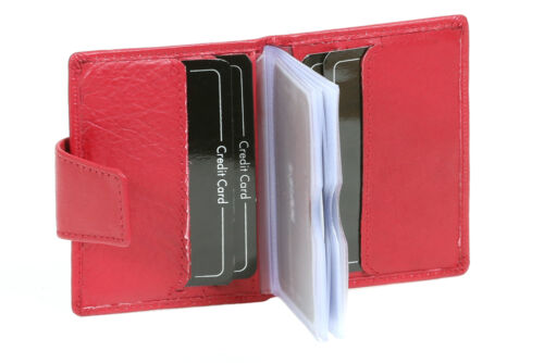 Scheckkartenhülle mit Druckknopfverschluss LEAS in Echt-Leder Hochformat rot