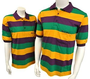 New mardi gras short sleeve polo style stripe knit shirt for Lacoste mardi gras rugby shirt