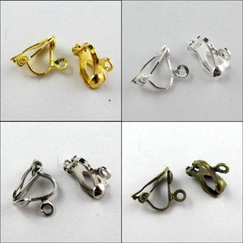 Wholesale 30pcs Clip On Earring Earwire Findings DIY Gold,Silver,Bronze,White K